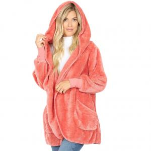 Metallic Print Shawls with Buttons Dusty Rose Hooded Faux Fur Cocoon w/Pockets 2614 - Medium