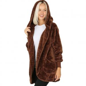 Metallic Print Shawls with Buttons Light Brown Hooded Faux Fur Cocoon w/Pockets 2614 - Medium