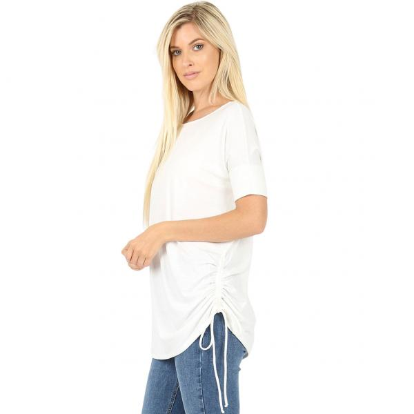 Wholesale Tops - Short Sleeve Ruched Top 2056  Ivory Short Sleeve Ruched Top 2056 - Large