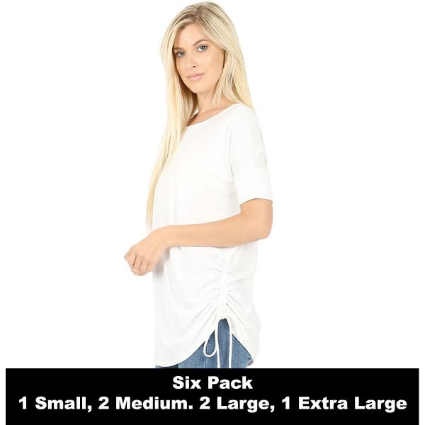 Wholesale Tops - Short Sleeve Ruched Top 2056   IVORY SIX PACK Short Sleeve Ruched Top 2056 (1S,2M,2L,1XL) - 1 Small, 2 Medium, 2 Large, 1 Extra Large