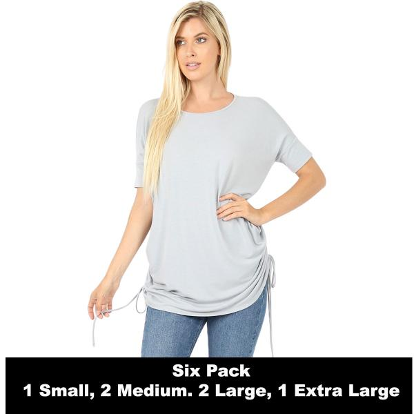 Wholesale Tops - Short Sleeve Ruched Top 2056   LIGHT GREY SIX PACK Short Sleeve Ruched Top 2056 (1S,2M,2L,1XL) - 1 Small, 2 Medium, 2 Large, 1 Extra Large