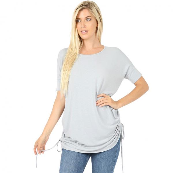 Wholesale Tops - Short Sleeve Ruched Top 2056  LIGHT GREY Short Sleeve Ruched Top 2056 - Small