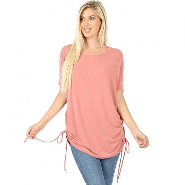 Wholesale Tops - Short Sleeve Ruched Top 2056  ASH ROSE Short Sleeve Ruched Top 2056 - Small