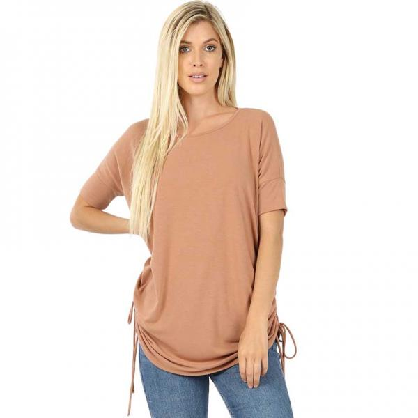 Wholesale Tops - Short Sleeve Ruched Top 2056  EGG SHELL Short Sleeve Ruched Top 2056 - Large