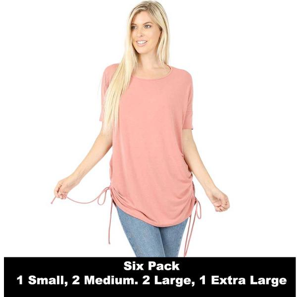 Wholesale Tops - Short Sleeve Ruched Top 2056   ASH ROSE SIX PACK Short Sleeve Ruched Top 2056 (1S,2M,2L,1XL) - 1 Small, 2 Medium, 2 Large, 1 Extra Large