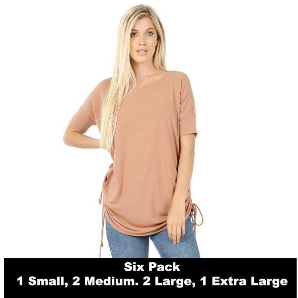 Wholesale Tops - Short Sleeve Ruched Top 2056   EGG SHELL SIX PACK Short Sleeve Ruched Top 2056 (1S,2M,2L,1XL) - 1 Small, 2 Medium, 2 Large, 1 Extra Large