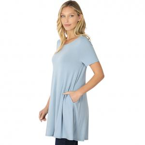 Wholesale  ASH BLUE SIX PACK Longline Flared Top with Side Pockets 9927 (1S/2M/2L/1XL) - 1 Small, 2 Medium, 2 Large, 1 Extra Large