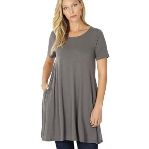Wholesale  MID GREY SIX PACK Longline Flared Top with Side Pockets 9927 (1S/2M/2L/1XL) - 1 Small, 2 Medium, 2 Large, 1 Extra Large