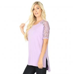 Wholesale  Dusty Lavender Lace Sleeve Side Slit High-Low 5572 - Large