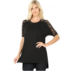 Wholesale  BLACK SIX PACK Lace Sleeve Side Slit High-Low 5572 (1S/ 2M/ 2L/ 1XL) - 1 Small, 2 Medium, 2 Large, 1 Extra Large