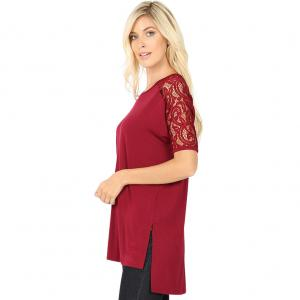 Wholesale  CABERNET SIX PACK  Lace Sleeve Side Slit High-Low 5572 (1S/ 2M/ 2L/ 1XL) - 1 Small, 2 Medium, 2 Large, 1 Extra Large