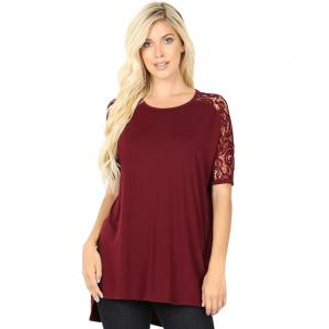 Wholesale  Dark Burgundy Lace Sleeve Side Slit High-Low 5572 (SIX PACK 1S/ 2M/ 2L/ 1XL) - 1 Small, 2 Medium, 2 Large, 1 Extra Large