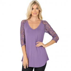 Wholesale  LILAC GREY 6 PACK Lace Sleeve V-neck Dolphin Hem 5579 (1S/ 1M /2 L/ 2XL) - 1 Small 1 Medium 2 Large 2 Extra Large