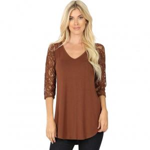 Wholesale  LIGHT BROWN Lace Sleeve V-neck Dolphin Hem 5579 - Large