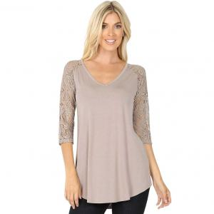 Wholesale  ASH MOCHA Lace Sleeve V-neck Dolphin Hem 5579 - X-Large