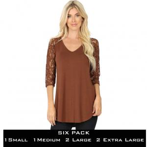 Wholesale   LIGHT BROWN (6 PACK) Lace Sleeve V-neck Dolphin Hem 5579  (1S/ 1M /2 L/ 2XL) - 1 Small 1 Medium 2 Large 2 Extra Large