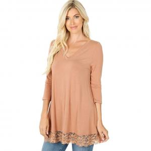 Tops - Luxe Rayon Lace Trim Hem Tunic 5640 EGG SHELL Luxe Rayon Lace Trim Hem Tunic 5640 - Large