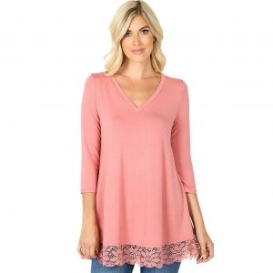 Wholesale  DUSTY ROSE Luxe Rayon Lace Trim Hem Tunic 5640 - Large