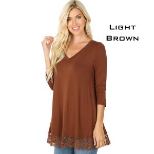 Tops - Luxe Rayon Lace Trim Hem Tunic 5640 LIGHT BROWN Luxe Rayon Lace Trim Hem Tunic 5640 - Small
