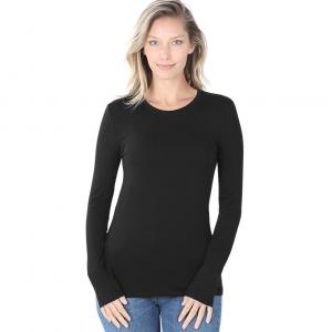 Wholesale  Black (SIX PACK) Cotton Long Sleeve Round Neck 3320 (1S/ 1M/ 2L/ 2XL) - 1 Small 1 Medium 2 Large 2 Extra Large