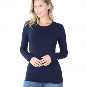 Wholesale  Navy (SIX PACK) Cotton Long Sleeve Round Neck 3320 (1S/ 1M/ 2L/ 2XL) - 1 Small 1 Medium 2 Large 2 Extra Large