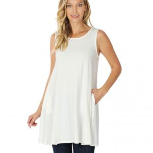 Wholesale  IVORY SIX PACK Round Neck Sleeveless Tunic with Side pockets #9926 (1S/2M/2L/2XL) - 1 Small, 2 Medium, 2 Large, 1 Extra Large