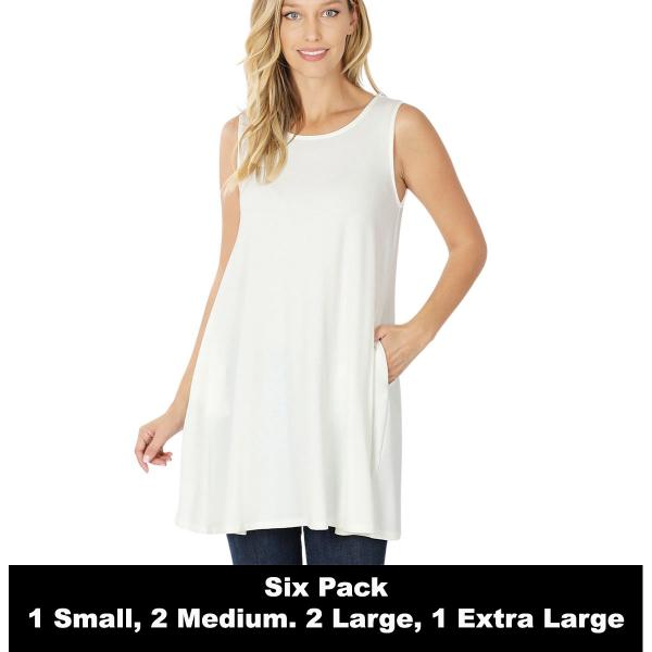 Wholesale Tops - Round Neck Sleeveless Tunic w/Pockets 9926P  IVORY SIX PACK Round Neck Sleeveless Tunic w/ Pockets 9926P(1S/2M/2L/1XL) - 1 Small, 2 Medium, 2 Large, 1 Extra Large