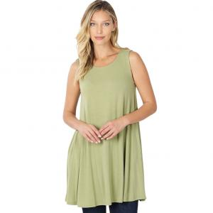 Wholesale  SAGE SIX PACK Round Neck Sleeveless Tunic with Side pockets #9926 (1S/2M/2L/2XL) - 1 Small, 2 Medium, 2 Large, 1 Extra Large