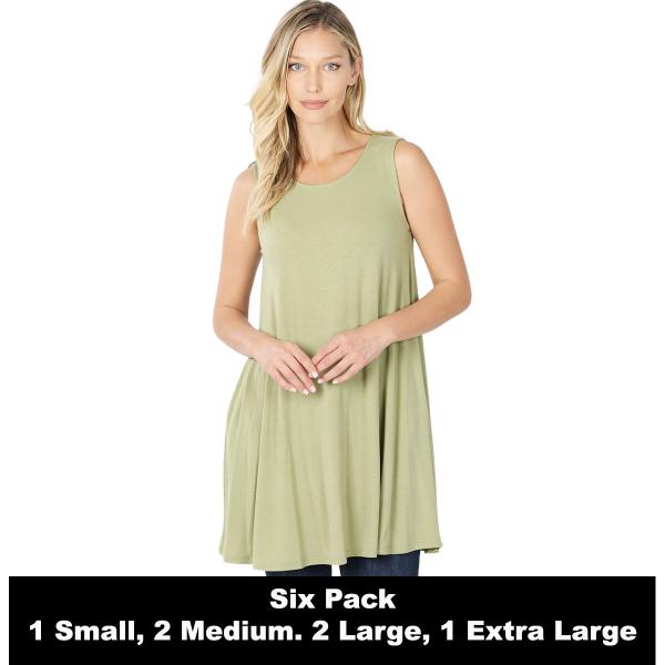 Wholesale Tops - Round Neck Sleeveless Tunic w/Pockets 9926P  SAGE SIX PACK Round Neck Sleeveless Tunic w/ Pockets 9926P (1S/2M/2L/1XL) - 1 Small, 2 Medium, 2 Large, 1 Extra Large