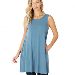 Wholesale  TITANIUM SIX PACK Round Neck Sleeveless Tunic with Side pockets #9926 (1S/2M/2L/2XL) - 1 Small, 2 Medium, 2 Large, 1 Extra Large