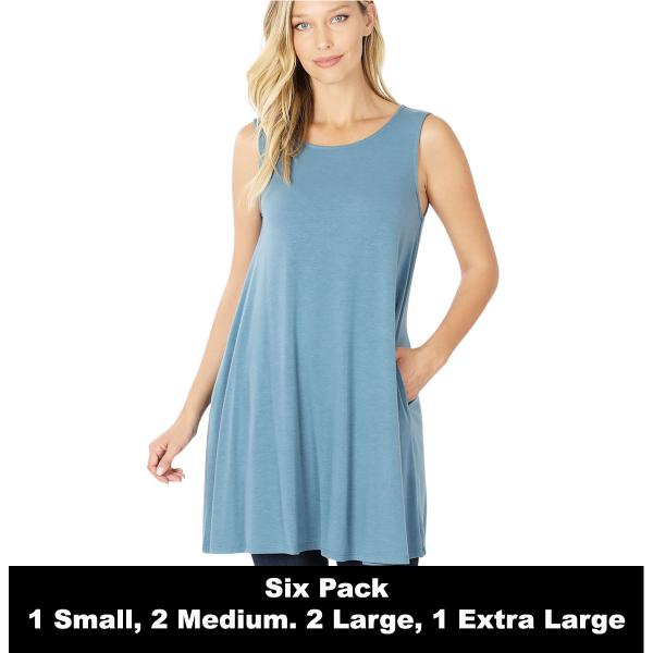 Wholesale Tops - Round Neck Sleeveless Tunic w/Pockets 9926P  TITANIUM SIX PACK Round Neck Sleeveless Tunic w/ Pockets 9926P (1S/2M/2L/1XL) - 1 Small, 2 Medium, 2 Large, 1 Extra Large