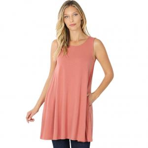 Wholesale  ASH ROSE SIX PACK Round Neck Sleeveless Tunic with Side pockets #9926 (1S/2M/2L/2XL) - 1 Small, 2 Medium, 2 Large, 1 Extra Large