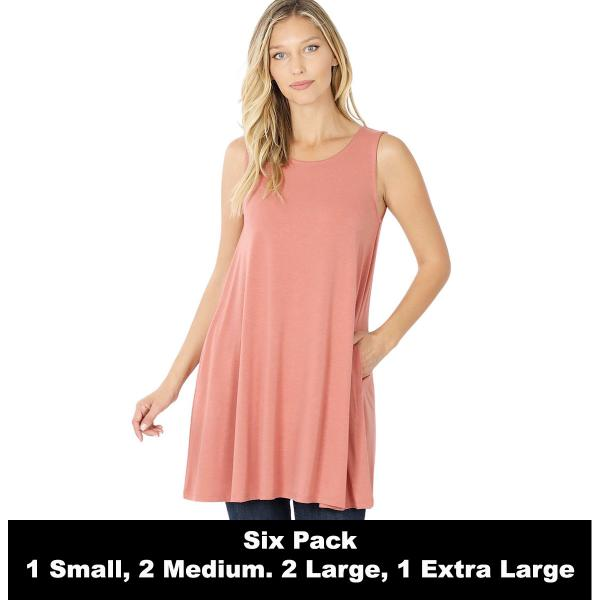 Wholesale Tops - Round Neck Sleeveless Tunic w/Pockets 9926P  ASH ROSE SIX PACK Round Neck Sleeveless Tunic w/ Pockets #9926 (1S/2M/2L/1XL) - 1 Small, 2 Medium, 2 Large, 1 Extra Large