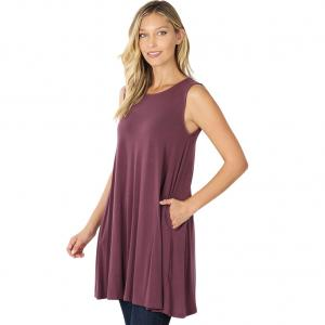 Wholesale  EGGPLANT SIX PACK Round Neck Sleeveless Tunic with Side pockets #9926 (1S/2M/2L/2XL) - 1 Small, 2 Medium, 2 Large, 1 Extra Large