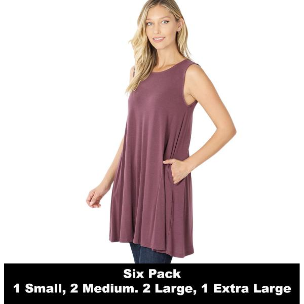 Wholesale Tops - Round Neck Sleeveless Tunic w/Pockets 9926P  EGGPLANT SIX PACK Round Neck Sleeveless Tunic w/ Pockets 9926P (1S/2M/2L/1XL) - 1 Small, 2 Medium, 2 Large, 1 Extra Large