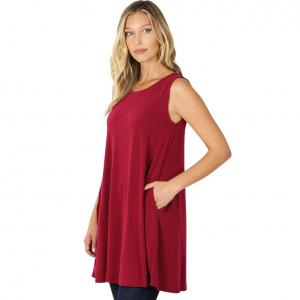 Wholesale  WINE SIX PACK Round Neck Sleeveless Tunic with Side pockets #9926 (1S/2M/2L/2XL) - 1 Small, 2 Medium, 2 Large, 1 Extra Large