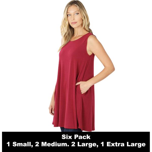 Wholesale Tops - Round Neck Sleeveless Tunic w/Pockets 9926P  WINE SIX PACK Round Neck Sleeveless Tunic w/Pockets #9926 (1S/2M/2L/1XL) - 1 Small, 2 Medium, 2 Large, 1 Extra Large