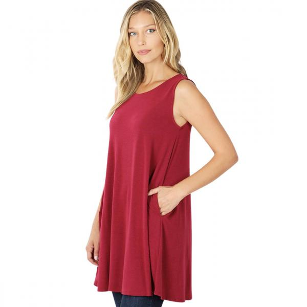 Wholesale Tops - Round Neck Sleeveless Tunic w/Pockets 9926P WINE - Round Neck Sleeveless Tunic w/ Pockets 9926P - Medium