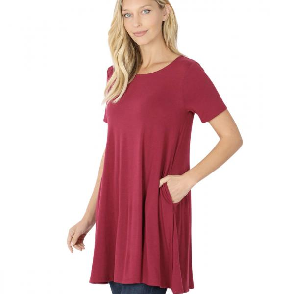 Wholesale Tops - Round Neck Sleeveless Tunic w/Pockets 9926P WINE - Round Neck Sleeveless Tunic w/ Pockets 9926P - X-Large
