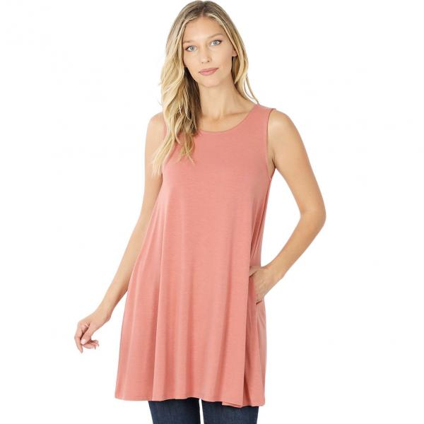 Wholesale Tops - Round Neck Sleeveless Tunic w/Pockets 9926P ASH ROSE - Round Neck Sleeveless Tunic w/ Pockets 9926P - Medium