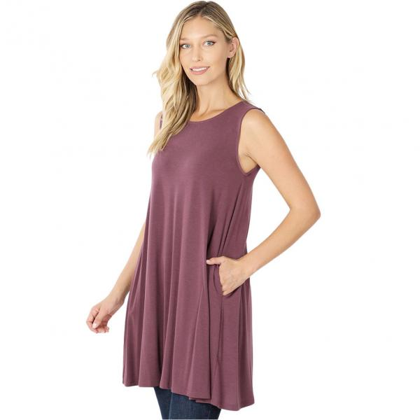 Wholesale Tops - Round Neck Sleeveless Tunic w/Pockets 9926P EGGPLANT - Round Neck Sleeveless Tunic w/ Pockets 9926P - Small