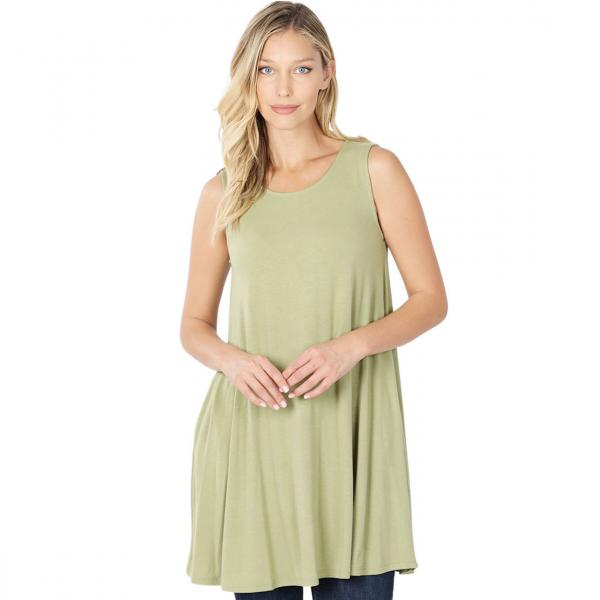 Wholesale Tops - Round Neck Sleeveless Tunic w/Pockets 9926P SAGE - Round Neck Sleeveless Tunic w/ Pockets 9926P - Medium