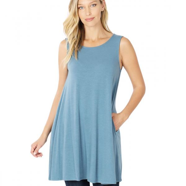Wholesale Tops - Round Neck Sleeveless Tunic w/Pockets 9926P TITANIUM - Round Neck Sleeveless Tunic w/ Pockets 9926P - Large