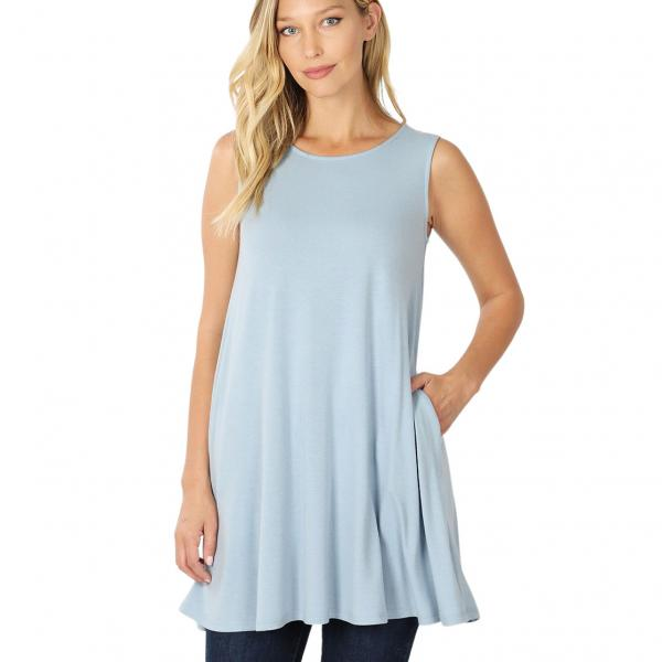 Wholesale Tops - Round Neck Sleeveless Tunic w/Pockets 9926P ASH BLUE - Round Neck Sleeveless Tunic w/ Pockets 9926P - Medium