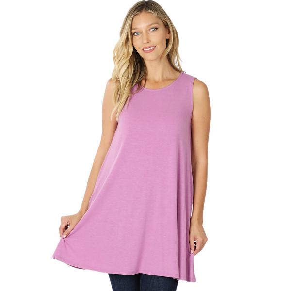 Wholesale Tops - Round Neck Sleeveless Tunic w/Pockets 9926P DARK MAUVE - Round Neck Sleeveless Tunic w/ Pockets 9926P - Large