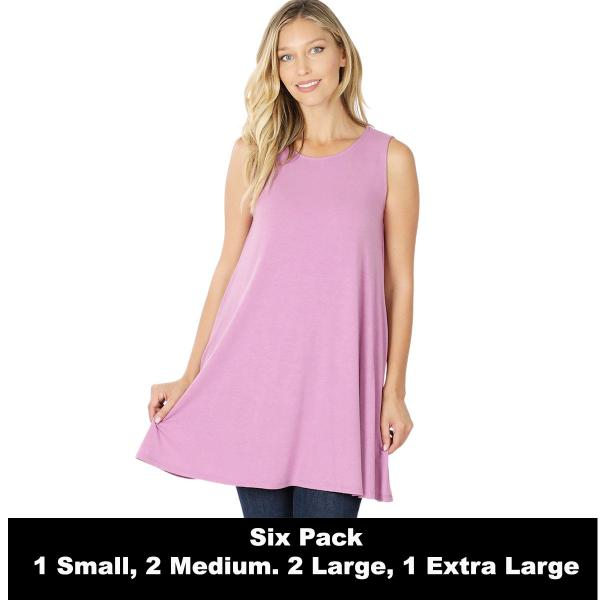 Wholesale Tops - Round Neck Sleeveless Tunic w/Pockets 9926P  DARK MAUVE SIX PACK Round Neck Sleeveless Tunic w/ Pockets 9926P (1S/2M/2L/1XL) - 1 Small, 2 Medium, 2 Large, 1 Extra Large