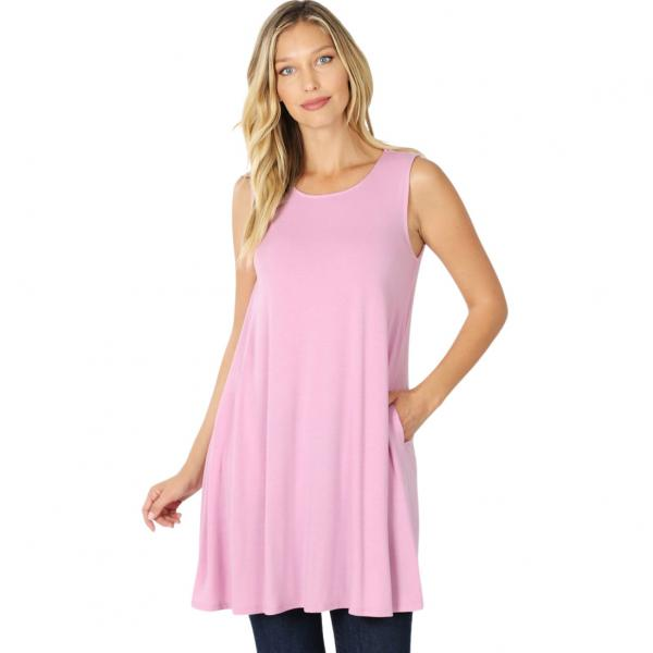Wholesale Tops - Round Neck Sleeveless Tunic w/Pockets 9926P MAUVE - Round Neck Sleeveless Tunic w/ Pockets 9926P - Medium