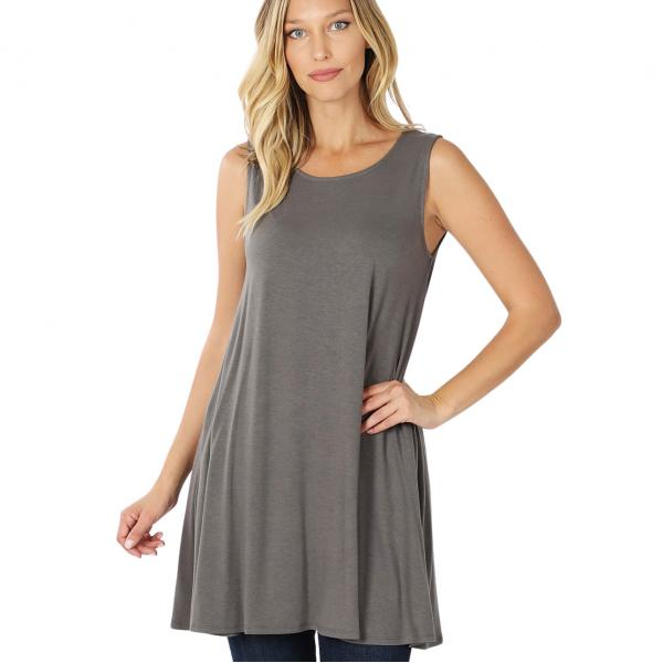 Wholesale Tops - Round Neck Sleeveless Tunic w/Pockets 9926P MID GREY - Round Neck Sleeveless Tunic w/ Pockets 9926P - Small