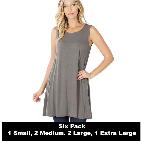 Wholesale Tops - Round Neck Sleeveless Tunic w/Pockets 9926P  MID GREY SIX PACK Round Neck Sleeveless Tunic w/ Pockets 9926P (1S/2M/2L/1XL) - 1 Small, 2 Medium, 2 Large, 1 Extra Large