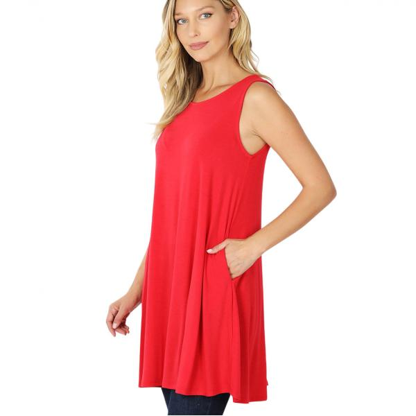Wholesale Tops - Round Neck Sleeveless Tunic w/Pockets 9926P RUBY - Round Neck Sleeveless Tunic w/ Pockets 9926P* - Small